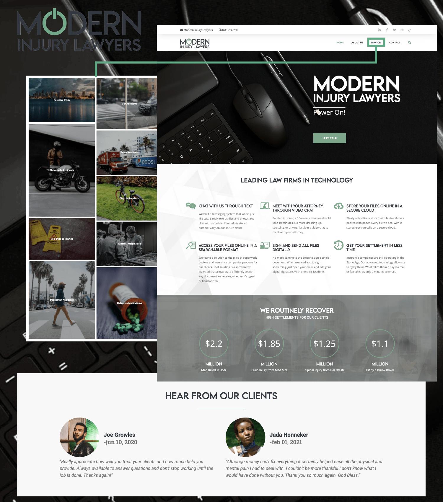 Modern Injury Lawyers Website - Website Design